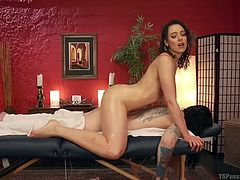 Lilith is the best massage therapist around, and she is known for giving happy endings. The shemale on the table is sexy tattooed porn star Chelsea Marie, and she is is need of some sweet relief. A hot footjob should make her shoot lady spunk.