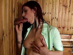 Sex hungry babe feels intense sexual desire while getting her face covered in cock juice