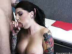 Brunette sex kitten Richie Black with gigantic melons and trimmed muff wants dudes pole to fuck her skillful hands non-stop