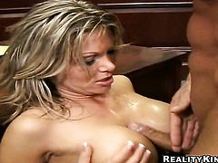 Blonde Reno with huge melons and clean bush enjoys throbbing tool deep inside her chocolate speedway