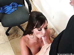 Brunette oriental Destiny Dixon with massive breasts and shaved cunt is curious about taking money shot on her lovely face