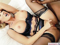 With big breasts and shaved muff fucking like it aint no thing in interracial action with hard dicked guy