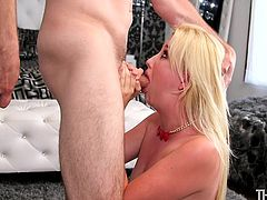 22 year old innocent Samantha, can hardly get any air, because her mouth is stuffed with a massive cock. The big dick hits the back of her throat, as she is face fucked relentlessly, like nothing more than a fuck hole. The load of sticky sperm gets plastered on her tongue.