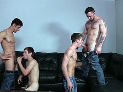 The hungry bottoms of two sexy twinks were banged hard by muscled studs. Rafael and Sergeant Miles seduced Johnny and Travis Stevens, and this foursome gay session is a treat to watch. The two twinks offered blowjobs and the studs lubricated and fingered the butt holes, before banging them.