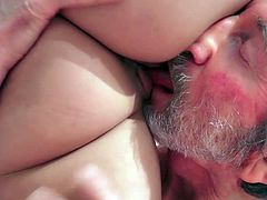 Visit official Beauty And The Senior's HomepageSweet brunette gal removes clothes for senior male and leaves him to delight with her pussy and tits in a steamy hardcore porn experience in the bath