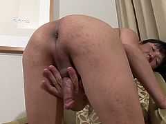 Irresistible Japanese tranny decides to reveal the fully erected cock