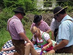wild groupsex lederhosen gangbang fuck orgy with sexy chicks in nature