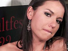 Nataly Gold with small boobs and trimmed beaver is curious about dildo fucking her snatch on camera