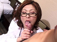 Japanese milf tranny tears open her pantyhose to fuck him