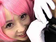 Ruka is a cosplay cutie in her pink wig and sexy anime maid outfit. The cute babe wraps her gloved hands on her man's cock and strokes off his tiny willy, until he drips pre-cum on her. The cosplay queen earned that load with her mouth.