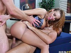 Britney, a busty hot babe has a great time riding her man's big cock, when postman enters the room and takes advantage of the situation... Watch all the hot details, as she screams with ecstatic pleasure, as she is pounded by two big dicks.