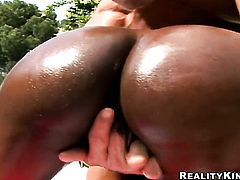 African Jada Fire with juicy tits and trimmed twat is out of control with dudes hard pulsating boner between her hands