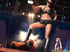 extreme crazy fetish bdsm needle porn show on european public show stage