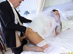 This bride has it all, pretty face, big ass and tits, and she loves cocks. She is getting married in few hours, but before that, she must have one last fuck with her husband's best friend. I mean a girl just can't ignore a needy big cock, am I right?