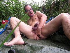 Rainy day anal cumshot, outdoors.