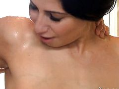 Brunette Allie Jordan gets attacked by erect dick of horny dude