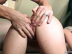 Blonde is too horny to stop sucking her mans erect love wand