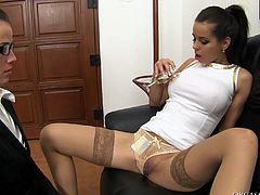 Adorable lesbian office girls fucking with a vibrator hardcore