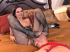 Short-haired brunette in stockings getting bonked in the asshole