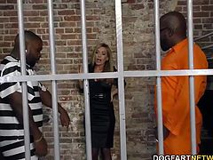Two convicts fuck busty blonde Subil Arch in prison. She doesn't want a creampie, but life is not request show...