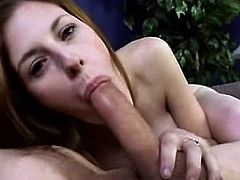 Hot redhead sucks on monster cock for cum