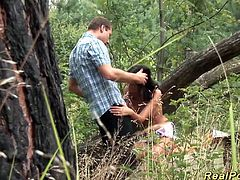 cute german amateur teen gets big cock banged in the forest