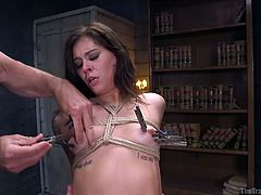Kacie Castle was starting to feel saliva drip out of mouth, as a dominant master banging her throat. At the same time, Seth Gamble was torturing from behind. She tolerated whipping, nipple clamps, slapping and several other painful acts, just to pass this slave test.