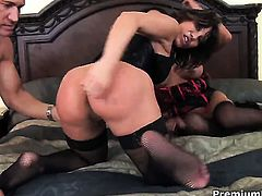 Ava Devine with giant breasts gets the hole between her legs fucked hard interracially