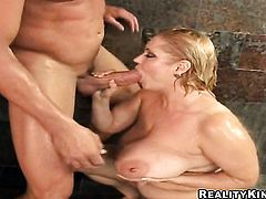 Blonde Samantha 38g with phat ass cant get enough and takes guys throbbing meat stick in her mouth over and over again