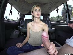 Haley Reed got picked up by bang bus. She gladly accepted the offer to fuck for cash, but she wasn't ready for what was about to come. The moment she saw that cock, she froze. It was thick as her arm and she had to jerk it off. You could see her eyes sparkle from joy. Guess she loves monster cocks!