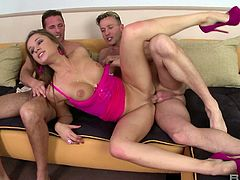 It was the first time for sexy Irina to participate in a threesome
