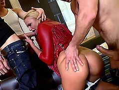 Vicious golden-haired harlot acquires a double penetration in excellent gang gangbang with 3 males