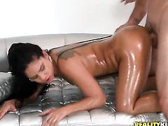 Brunette sexy Jmac and horny dude have a lot of fun in this blowjob action