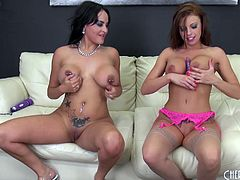 Pornstars with implants get out the toys and fuck each other