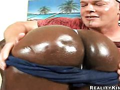 Cocoa with round bottom and bald snatch gets her wet hole destroyed in interracial sex action