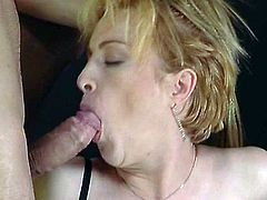 Blonde with a lovely bush double penetrated by a hot slut