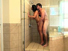 Manuel Ferrara joined Adriana in shower and their sex session started with deep passionate kiss. His long dick penetrated the wet cunt from behind, while she moaned loudly. He grabbed her hair and pounded the cunt really hard. The bathroom was filled with their dirty slapping noises.