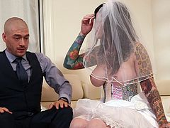 Juliana was newly married. It was the first night after wedding, but his husband was tired. She was so horny, that she decided to enjoy it with his friend. Xander was a loyal friend, until he saw her big breast. She gave nice blowjob and titjob, got on knees, and asked him to fuck her from behind.