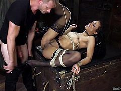 ebony slave fists her ass in bondage and gets rammed in the butt