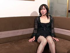 Sexy Asian shemale in stockings gets a handjob that she wanted