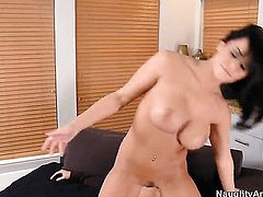Brunette shows her love for cock juice in crazy cumshot action