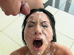 Visit official Hard X's HomepageSlutty brunette feels great with so many loads of cum to cover her face and tits, moaning and craving for even more cum to blast her face