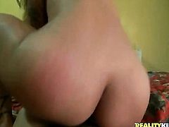 Blonde Stefania Mafra with round ass and clean pussy is curious about oral sex with hard cocked guy