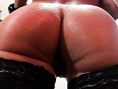 Brunette Aletta Ocean gets a mouthful of boner in oral action with horny guy