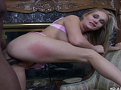 Katie Ray is a renowned prostitute. She was hired by a black boy first time. She removed her bra and put her tits on his face. Then took his cock in her pussy in reverse cowgirl. He spanked her ass and drilled it from behind. She was screaming loud, her ass hole was too tight to take his bbc.