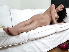 Tiffany Doll spreads her legs to fuck herself, take sex toy in her eager beaver