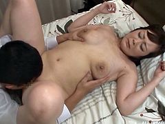Touya's husband was out of town, so she called her new lover, to bang her holes tonight. He was eager to suck her milk. He grabbed her boobs, squeezed them hard, licked her cunt and inserted his cock in her old pussy. Then he fucked her big fat ass.