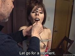 Wonderfully bizarre CMNF Japanese BDSM featuring a very naked and embarrassed amateur having her nostrils licked before nipple clamps and nose hooks come into play with English subtitles