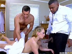 Kagney was having sex with her masseur. He poured oil on her body, rubbed his dick on her ass and inserted it inside her ass hole. Unexpectedly her husband caught them, but instead of getting angry, he joined them for a perfect threesome. Kagney sucked her husband's black cock, while the masseur was banging her pussy.