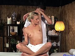 Cayla is getting a great massage from Kristof. It goes from professional to personal very quickly, as he oils her body down and rubs her all over. When he gets to her clit, she figures it's time to be generous and takes his cock in her hand, stroking and licking it.